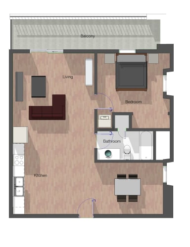 Floor Plan  1 Bedroom, 1 Bathroom.  848 square feet.