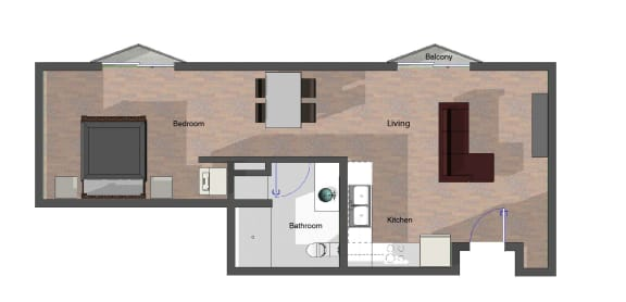 Floor Plan  1 Bedroom, 1 Bathroom in Building B. 642 square feet