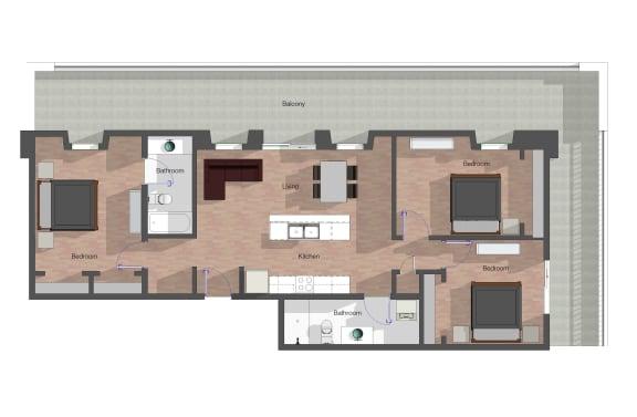 Floor Plan  3 Bedroom, 2 Bathroom. 1,199 square feet.