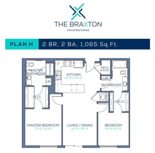 Floor Plan  Plan H: 2BR, 2BA