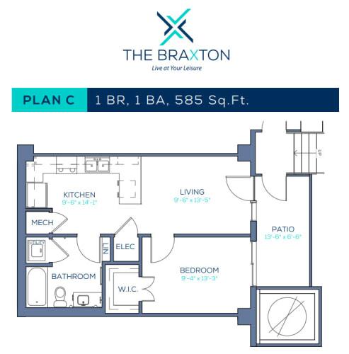 Floor Plan  Plan C: 1 BR, 1 BA
