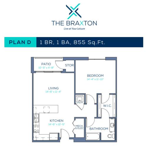 Floor Plan  Plan D: 1BR, 1BA