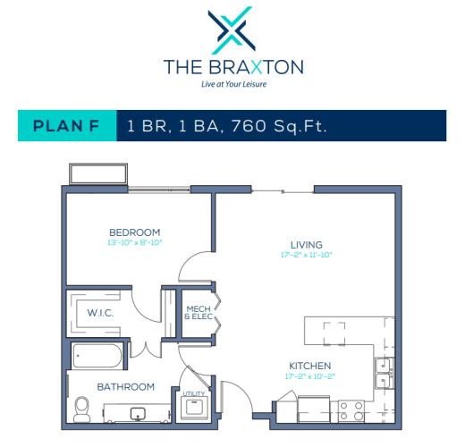 Floor Plan  Plan F: 1BR, 1BA