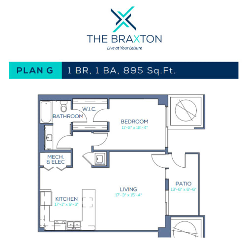 Floor Plan  Plan G: 1BR, 1BA