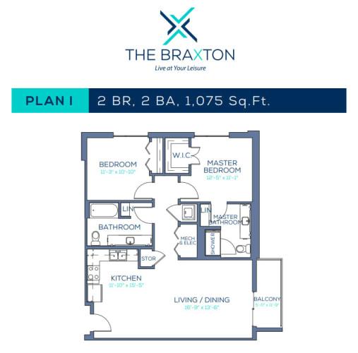 Floor Plan  Plan I: 2BR, 2BA