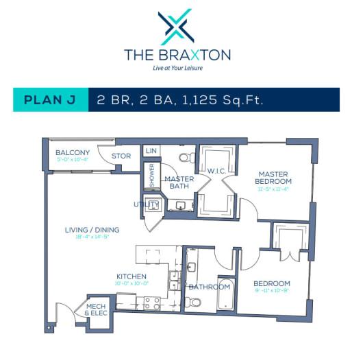 Floor Plan  Plan J: 2BR, 2BA
