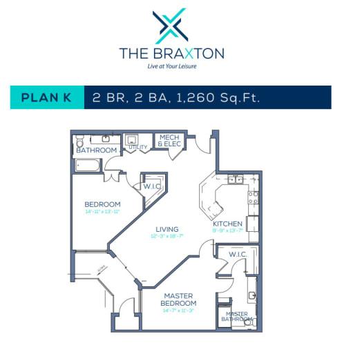 Floor Plan  Plan K: 2BR, 2BA