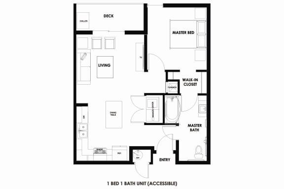 Floor Plan  1BR/1BA 45% AMI ADA Millcreek Station