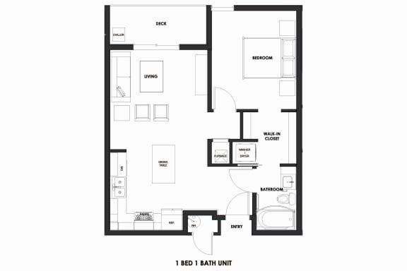 Floor Plan  1BR/1BA 39% AMI HOME Millcreek Station