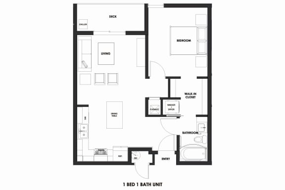 Floor Plan  1BR/1BA Market Rate Millcreek Station