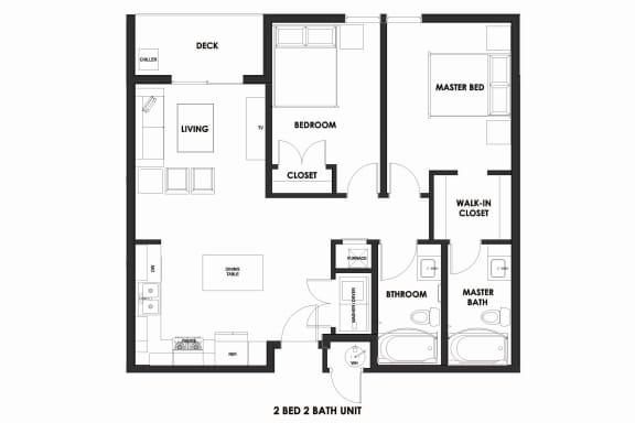 Floor Plan  2BR/2BA 50% AMI Millcreek Station