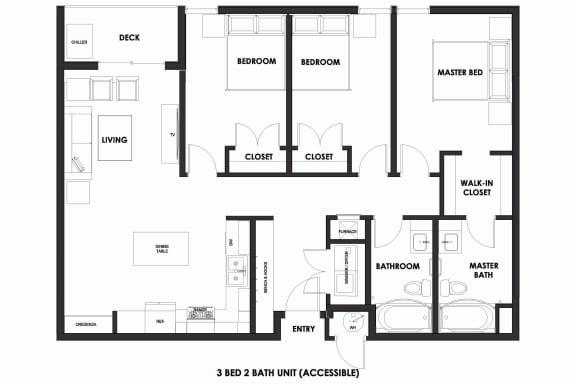 Floor Plan  Millcreek Station 3BR/2BA Market ADA