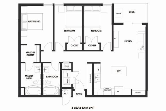 Floor Plan  3BR/2BA 39% AMI HOME Millcreek Station