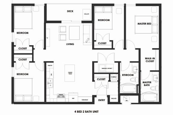 Floor Plan  4BR/2BA Market Rate Millcreek Station