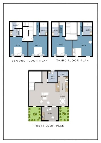 Floor Plan  4 Bedroom, 4.5 Bath Classic Townhouse Furnished/Unfurnished