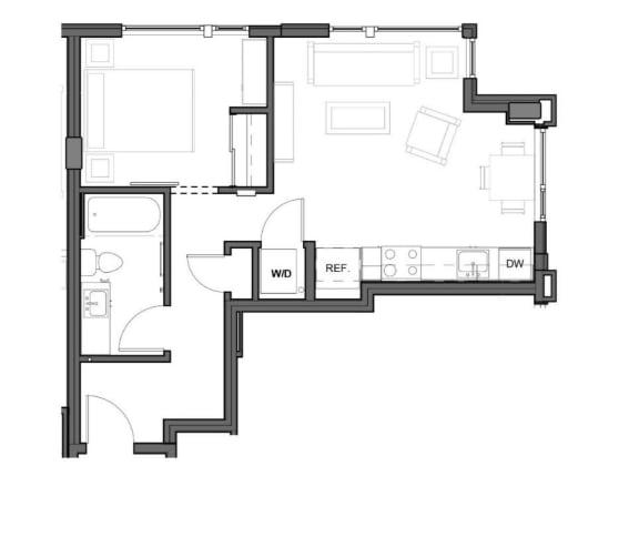 Floor Plan  1 bed 1 bath 500 square feet floor plan image