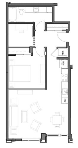 Floor Plan  834 square feet floor plan image