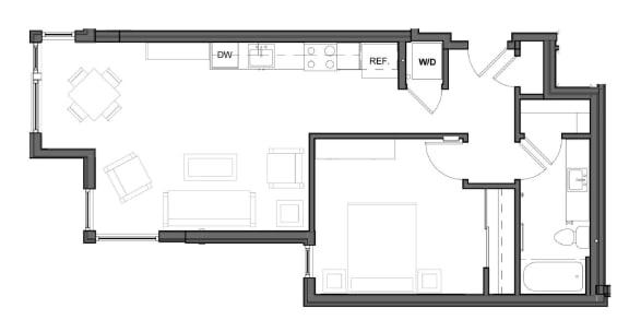 Floor Plan  1 bed 1 bath 724 square feet E2 floor plan image