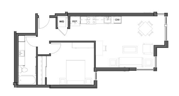 Floor Plan  1 bed 1 bath 720 square feet F floor plan image