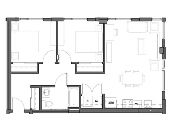 Floor Plan  2 bed 1 bath 905 square feet D ADA floor plan image