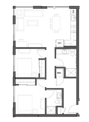 Floor Plan  2 bed 2 bath 910 square feet D floor plan image