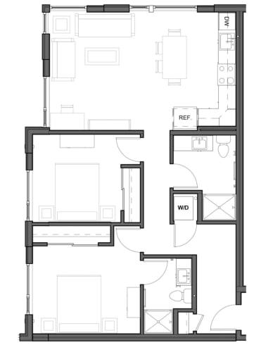 Floor Plan  2 bed 2 bath 960 square feet D2 floor plan image