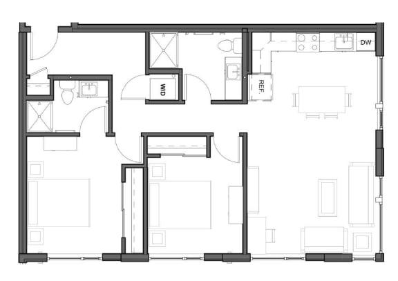 Floor Plan  2 bed 2 bath 990 square feet D3 floor plan image