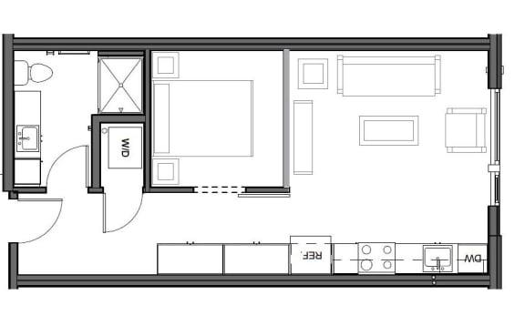 Floor Plan  Urban 540 square feet floor plan image