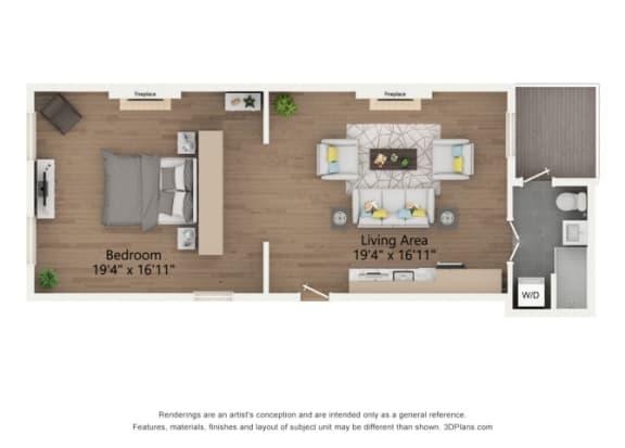 Floor Plan  Edgar 1 Bedroom Floor Plan