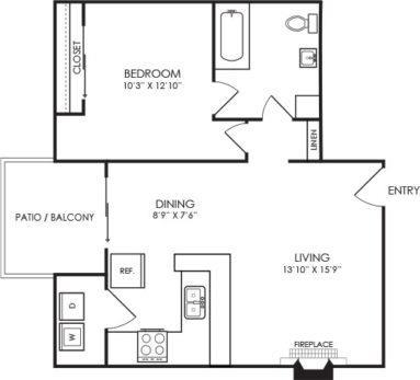 Floor Plan  1 Bedroom A 1 Bath Floor Plan at Amp at the Grid, Arlington, TX, 76011