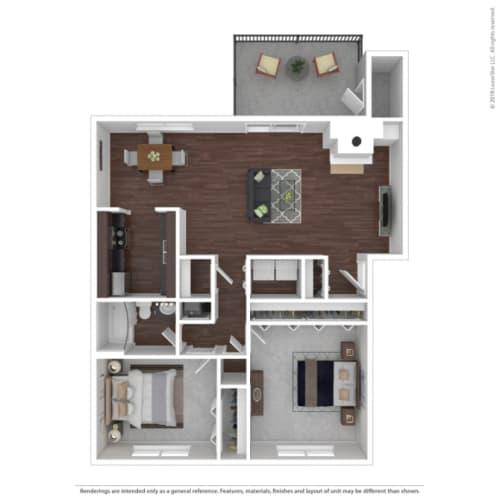 Floor Plan  Woodbridge Apartments Mahogany Floor Plan