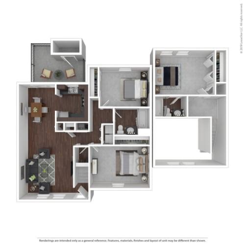 Floor Plan  Woodbridge Apartments Oak Floor Plan