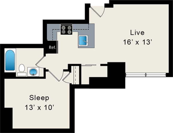 Floor Plan  Convertible Apartment at the Belmont by Reside