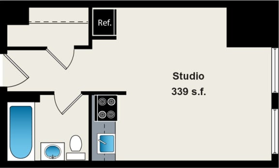 Floor Plan  Studio Apartment at the Belmont by Reside