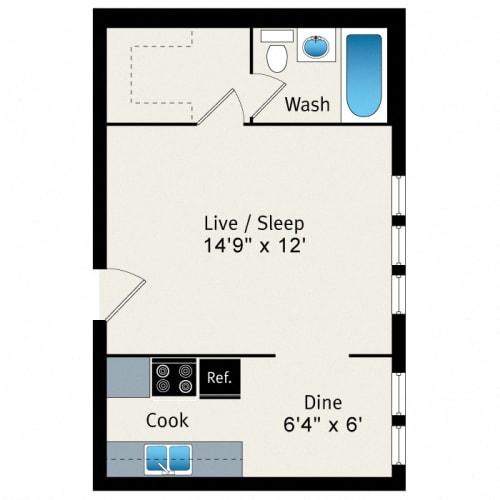 Floor Plan  Studio - Medium Floorplan at Reside at 823