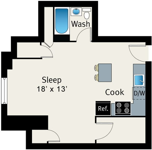 Floor Plan  1 Bed 1 Bath Floor plan at The Belmont by Reside Apartments, Chicago, Illinois