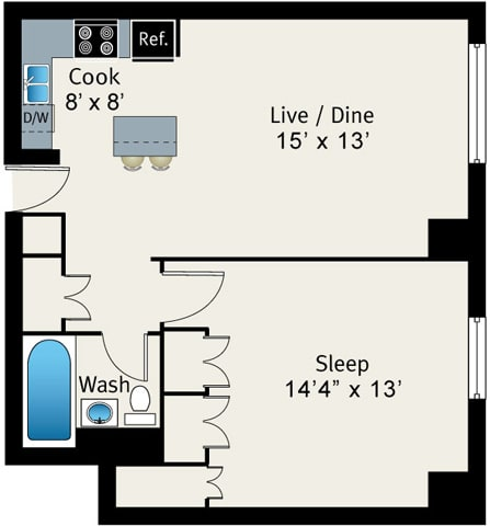 Floor Plan  1 Bed 1 Bath Floor plan at The Belmont by Reside Apartments, Illinois, 60657-4830