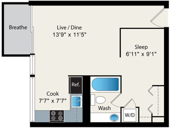 Floor Plan  1 Bed 1 Bath Floor plan at Park Lincoln by Reside, Chicago, 60614-2746