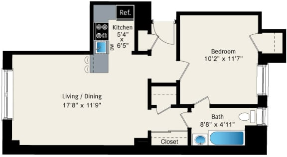 Floor Plan  1 bedroom floor plan at Reside at Belmont Harbor