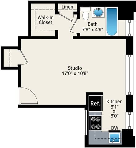 Floor Plan  Studio floor plan at Reside at Belmont Harbor