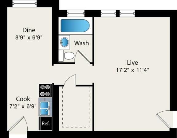 Floor Plan  Studio Floor Plan at Reside at 849