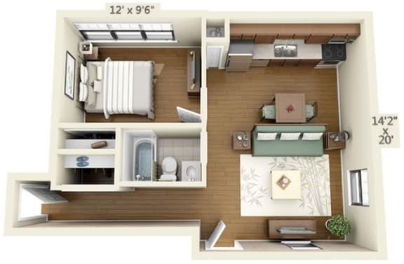 Floor Plan  1 bedroom floor plan at the Belmont by Reside Flats