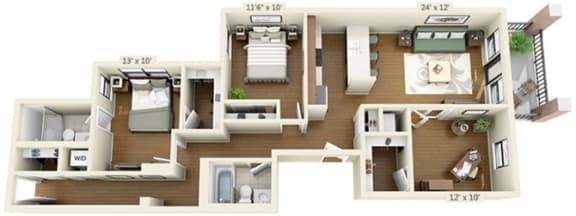 Floor Plan  floor plan at the Belmont by Reside Flats