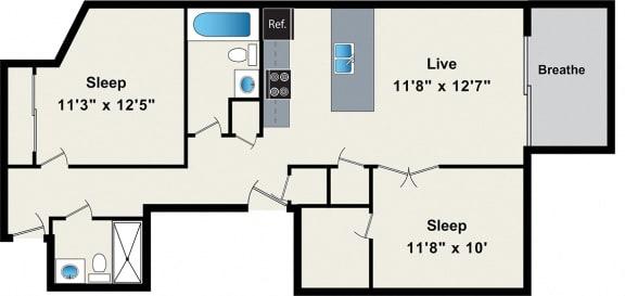 Floor Plan  Two-Bedroom Floorplan