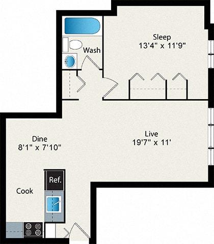 Floor Plan  1-Bedroom Small  Floor Plan