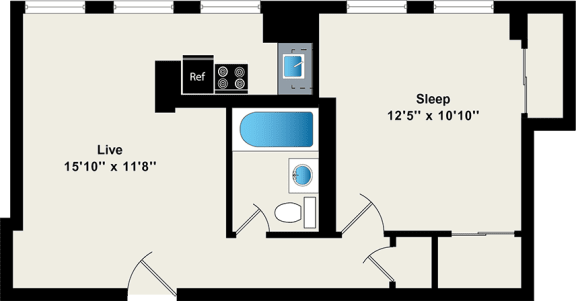 Floor Plan  One Bedroom Floor Plan at Reside on Wellington
