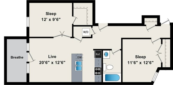 Floor Plan  Two Bedroom Floor Plan at the Belmont by Reside FLATS