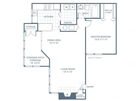 Floor Plan  1 Bedroom 1 Bath 950 sqft (A1)