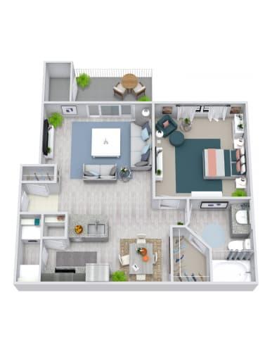 Floor Plan  1 Bedroom, 1 Bath 692 sqft