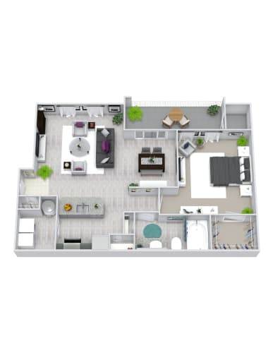 Floor Plan  1 Bedroom, 1 Bath 798 sqft